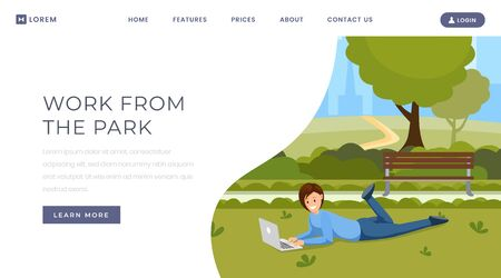 Work from park landing page template. Online communication, distance job, remote work website homepage design layout. Female freelancer, designer with laptop on grass in park color cartoon character