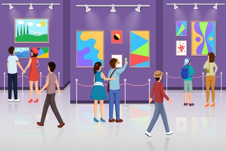 Visitors in art gallery vector illustration. People enjoying modern paintings, taking photos cartoon characters. Romantic couple dating in museum, mother and son looking at abstract pictures