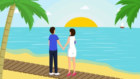 Couple and sunset vector illustration. Young boy and girl enjoy romantic evening date at sandy beach with palm trees cartoon characters. Seaside resort visitors looking at blue sea, sailing ship  イラスト・ベクター素材