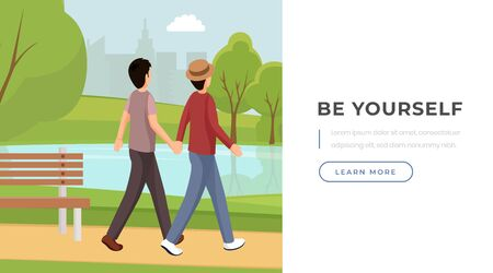 Be yourself slogan landing page template. Romantic gay couple holding hands, walking in park recreation area cartoon characters. Supporting sexual minorities website page design layout Illusztráció
