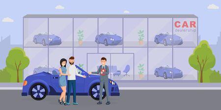 Nouvelle illustration vectorielle plane d'achat automobile. Vendeur de salle d'exposition de voitures et personnages de dessins animés de clients satisfaits. Location de transport, service de leasing, remise des clés, commerce de détail de véhicules