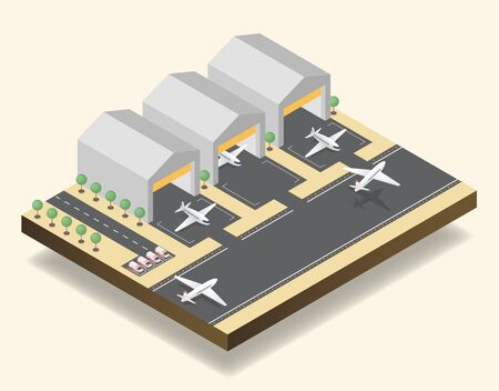 Airport runway, airfield isometric vector illustration. Modern air transportation business, aviation industry, commercial airline 3D design element. Cargo planes taking off, hangars and ambulance cars Ilustração