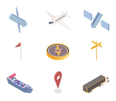 GPS app icons isometric illustrations set. Transportation industry, logistics and navigation mobile application design elements pack. Space satellites, passenger plane, cargo ship and compass