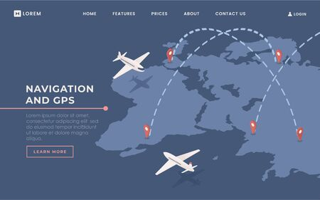 Commercial airlines landing page vector template. Airway transportation industry website homepage interface idea with isometric illustration. Logistics and navigation web banner 3D cartoon concept Illusztráció