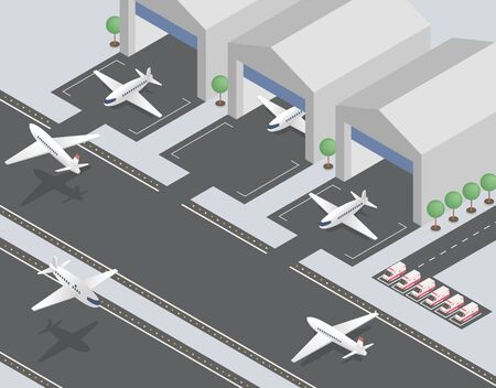 Departing, arriving planes isometric vector illustration. Civil aviation, passenger transportation industry, commercial airline. Modern airfield, airport runway with aircrafts and ambulance cars