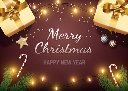 Merry christmas greeting card vector template. Happy new year postcard, winter holiday banner design with festive wishes. Xmas decorations and presents realistic illustration with typography