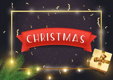 Christmas greeting card vector template. Traditional xmas banner, winter season holiday banner layout. New year congratulations. Festive decorations and present realistic illustration with typography