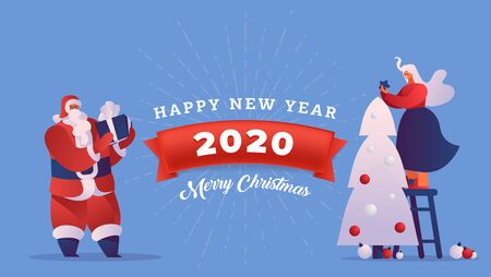 Happy New Year vector banner template. Cartoon Santa Claus with gift and woman decorating Christmas tree. Winter season greeting card design layout with red ribbon and sunburst element