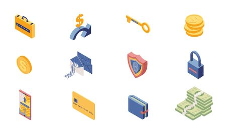 Private account access icons isometric set. Online banking, security system items isolated on white background. Money, safe locks, transactions, information protection 3d illustrations pack
