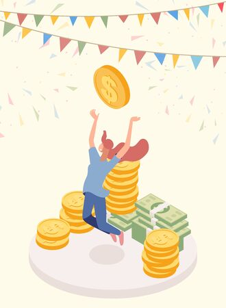 Lucky jackpot winner vector character. Joyful girl, cash prize owner, honorarium payee isometric illustration. Lottery gain, successful female millionaire, fortune and revenue concept Çizim