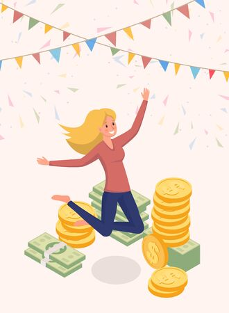 Joyfully jumping money owner vector character. Happy woman, cash prize winner, honorarium payee cartoon illustration. Lottery jackpot, successful female millionaire, fortune and revenue concept