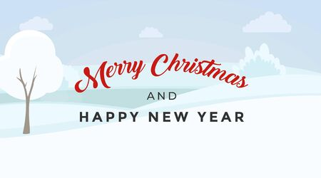 Merry Christmas vector banner template. Elegant December holidays calligraphy inscription on winter landscape. Happy New Year greeting card, postcard design layout with snowy valley background Illusztráció