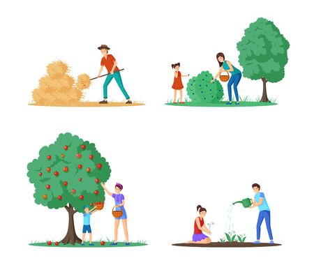 Farm harvesting season vector illustrations set. Cartoon rancher working with pitchfork near haystack, mother and child gathering apples and blueberries. Farmers growing and watering flowers Ilustração