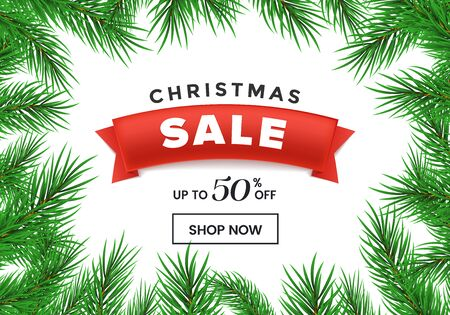 Christmas sale flat vector homepage template. Red ribbon with 50 percent discount in realistic fir tree branches frame. New Year, winter holidays special price offer landing page design layout