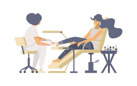 Professional pedicure procedure flat vector illustrations. Female pedicurist and young fashion parlor client cartoon characters. Beauty salon service, cosmetology decorative design element
