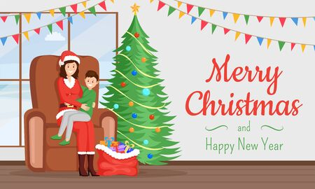 Xmas holiday greeting card vector template. Woman in Santa Claus costume, little boy telling verse cartoon characters. Merry Christmas and Happy New Year postcard, banner, poster layout