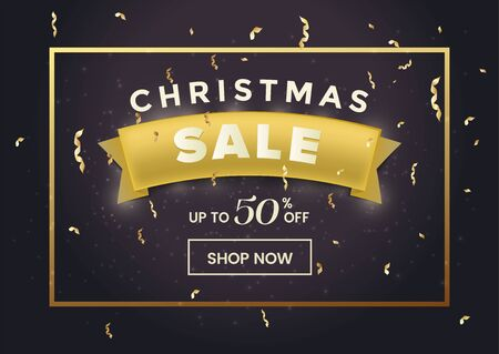 Special christmas sale banner vector template. Up to 50 percent discount offer, december shopping event promo poster concept. Festive ribbon with confetti realistic illustration with typography