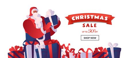 Christmas sale flat vector landing page template. Santa with gift boxes. Winter holidays 50 percent discount offer, total clearance, special price advert for online store homepage design layout  イラスト・ベクター素材
