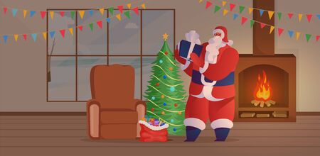 Santa Claus visit vector illustration. Old bearded man, Xmas symbol character in red costume placing present under Christmas tree. Winter season festive mood in cozy room with fireplace and garlands