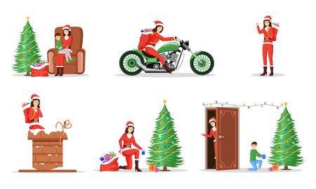 New Year, Christmas celebration illustrations set. Woman giving presents in Santa Claus costume flat character. Winter holidays items, festive mood, Xmas gift delivery isolated on white background