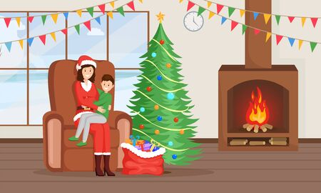 Christmas, New Year traditions vector illustration. Female Santa Claus in costume, glad boy waiting present cartoon characters. Winter holidays mood, New Year tree, gift sack, child dream