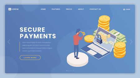 Payments security landing page vector template. Cash account access, online banking webpage, website design layout with isometric illustrations. Man entering personal password 3d cartoon character