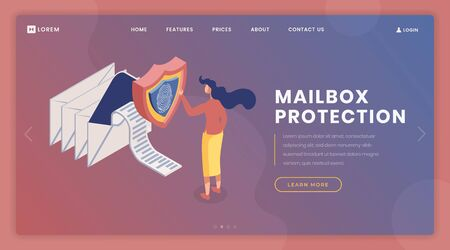 Fingerprint access landing page vector template. Mailbox protection, online information exchange webpage, website design layout with isometric illustrations. Email owner 3d cartoon character Çizim