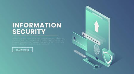 Information security landing page vector 3d template. Account access, fingerprint scanner, voice identification webpage design layout. Personal information protection isometric illustration