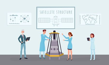 Space satellite construction flat vector illustrations. Professional engineers, scientists working together cartoon characters. Telecommunication equipment development, assembling process