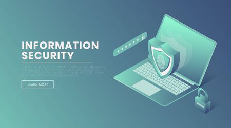 Information security landing page vector template. Protected account access, fingerprint scanner, password webpage, website design layout. Confidential data safety isometric 3d illustration Illusztráció