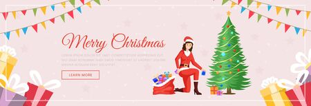 Xmas landing page vector template. Female Santa Claus in costume with gift sack and decorated New Year tree flat character. Christmas winter holiday presents store web banner layout Illusztráció