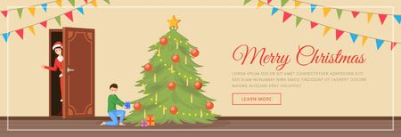 Merry Christmas landing page vector template. Woman in Santa Claus costume and boy near festive New Year tree cartoon characters. Happy winter holidays celebration website, web banner layout Illusztráció