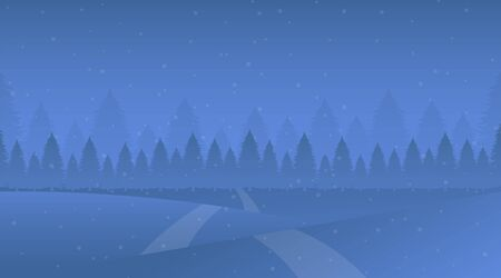 Night winter landscape vector illustration. Snowy meadow, snowdrifts, trodden road, fir-tree forest. Cold evening snowfall in spruce woods, frost weather, cartoon nature scenery flat background Çizim