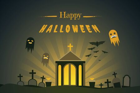 Happy halloween flat banner vector template. Autumn season traditional holiday greeting card design with congratulations. Haunted graveyard with glowing crypt and ghosts illustration with typography