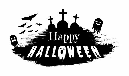 Haunted cemetery silhouette vector illustration. Seasonal holiday greeting card design element, grunge banner concept. Black and white ghosts and gravestones with happy halloween typography