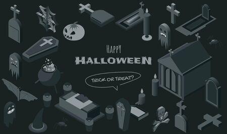 Halloween symbols isometric vector illustrations set. Haunted graveyard monochrome design elements, creepy 3d icons pack. Spooky tombstones, caskets, witch accessories, crypt and jack lantern Illusztráció
