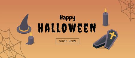 Halloween clearance sale web banner template. Traditional wholesale commercial poster, seasonal shopping event advertising, online store landing page layout. Discounts promotion with isometric icons Illusztráció