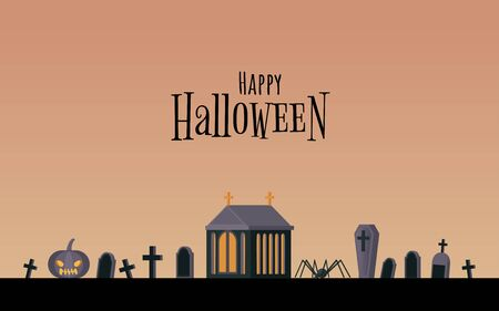 Happy holiday flat banner vector template. Traditional postcard, greeting card idea with halloween congratulations. Spooky graveyard with jack lantern, spiders and crypt illustration with typography