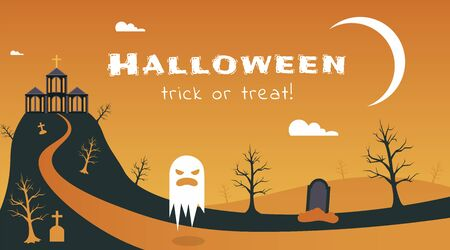 Halloween holiday flat banner vector template. Seasonal holiday postcard, traditional greeting card layout. Creepy haunted hill house with ghosts illustration with trick or treat typography