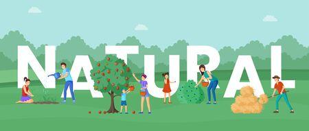 Bannière de concept de mot de produits agricoles naturels. Experts en horticulture et fonctions des éleveurs. Mère et enfants, villageois ramassant des pommes bio mûres et des bleuets récoltent des personnages de dessins animés