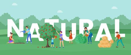 Natural agricultural produce word concept banner. Horticulture experts and ranchers duties. Mother and children, villagers collecting ripe bio apples and blueberries harvest cartoon characters