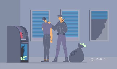 Failed burglary attempt flat vector illustration. Policeman in uniform and robber in handcuffs cartoon characters. Security guard caught thief stealing money from ATM machine, criminal apprehension