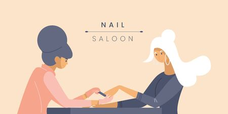 Professional nail studio banner vector template. Manicurist and young customer cartoon characters. Beauty parlor service poster concept. Fingernail polishing procedure illustration with typography