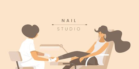 Nail studio flat banner vector template. Pedicurist and young woman cartoon characters. Beauty parlor service poster concept. Feet massage and fingernail treatment illustration with typography Ilustração