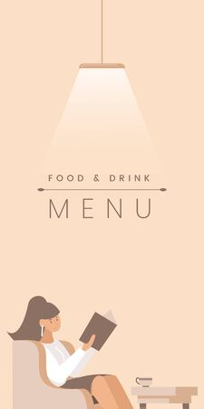 Gourmet restaurant flat banner vector template. Cafe visitor, customer cartoon character. Food and drink menu poster concept. Young woman sitting in armchair illustration with typography
