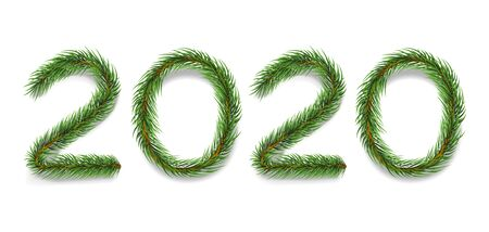 Fir tree branches realistic vector illustration. Evergreen pine twigs in 2020 number shape isolated on white background. Traditional winter holiday, christmas banner, postcard design element Illusztráció
