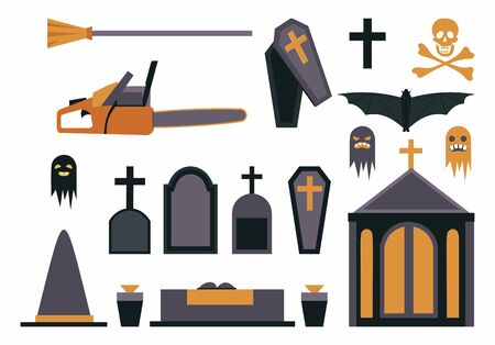 Halloween symbols flat vector illustrations set. Haunted cemetery design elements isolated on white background. Gravestones, coffins, scary ghosts, crypt, vampire bat, witch hat and broomstick