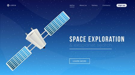 Space exploration landing page vector template. Modern science, cosmology website homepage interface idea with flat illustration. Exoplanet search program web banner, webpage cartoon concept