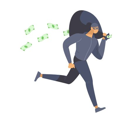 Thief stealing money flat vector illustration. Bank robber, burglar in mask escaping crime scene cartoon character. Dangerous lawbreaker, criminal holding cash bag isolated on white background