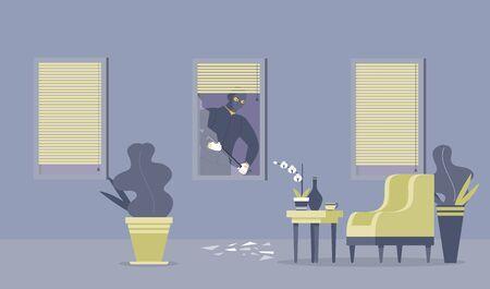 Crime commitment, housebreak flat vector illustration. Dangerous thief with crowbar, robber in balaclava cartoon character. Disguised criminal breaking through window, apartment burglary, robbery Çizim